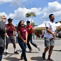 students dance at mt. sac broadcasting booth