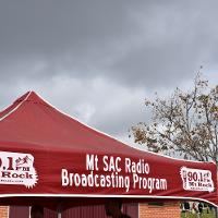mt. sac broadcasting booth canopy with mt. rock logo