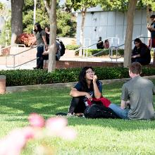 students sitting in shade on lawn