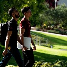two students walking