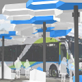 Rendering of Foothill Transit bus at Transit Center
