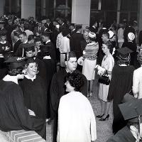 Graduation 1964 outside Student Life Center