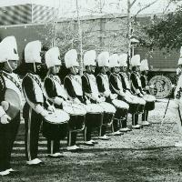 Marching Band outside Library