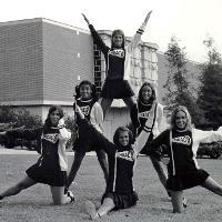 Cheerleaders outside Library