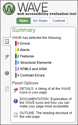 Results in the WAVE accessibility checker