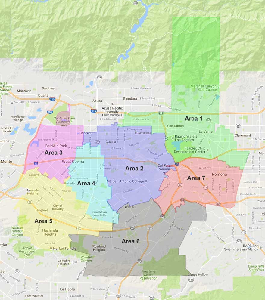 This map shows Mt. SAC's district area.