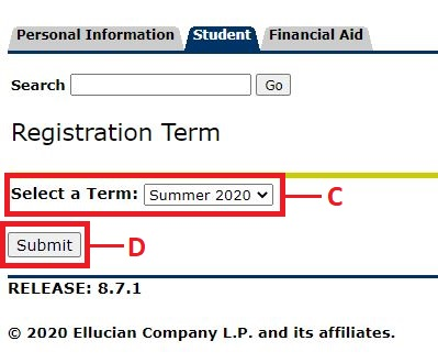 Click Select Term, select a semester/session and click Submit