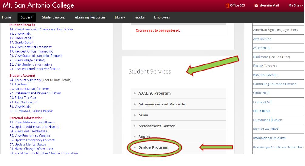 Step 2 - Student Services Tab in Portal