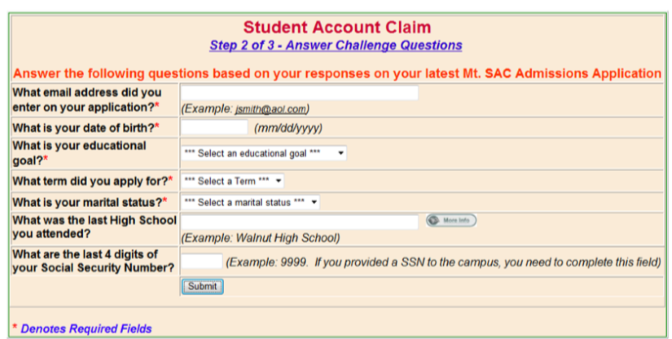Account Claim Form Fields