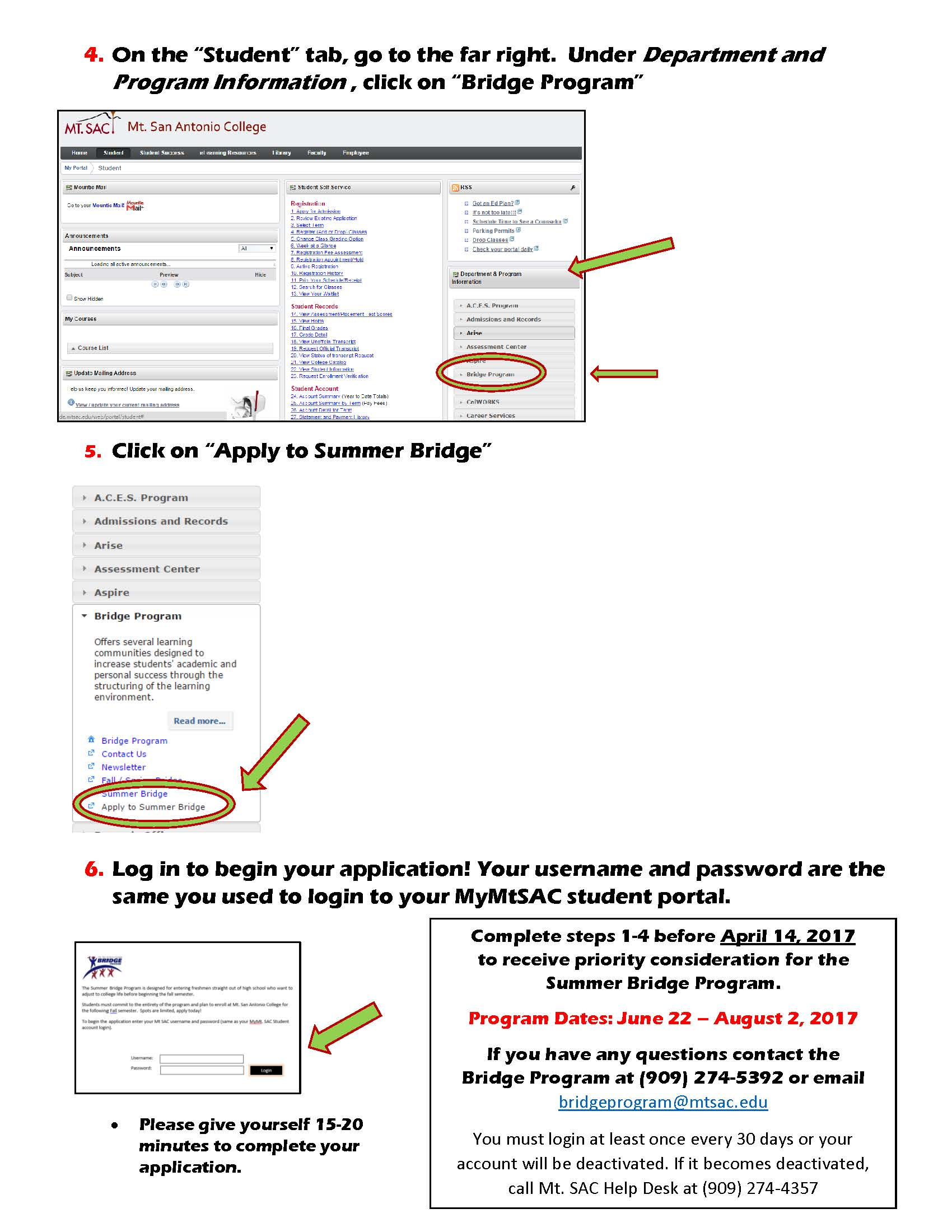 Step by Step how to Access the Summer Bridge Application 2