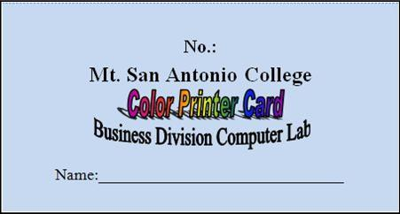 Business Division Print Card