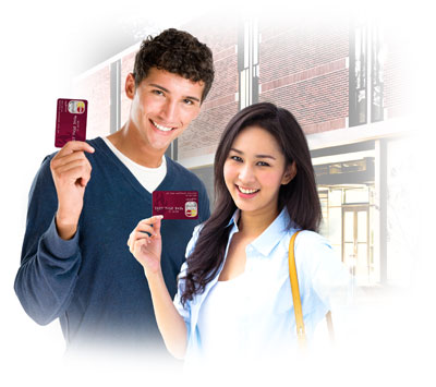 Two Students holding Higher One Card