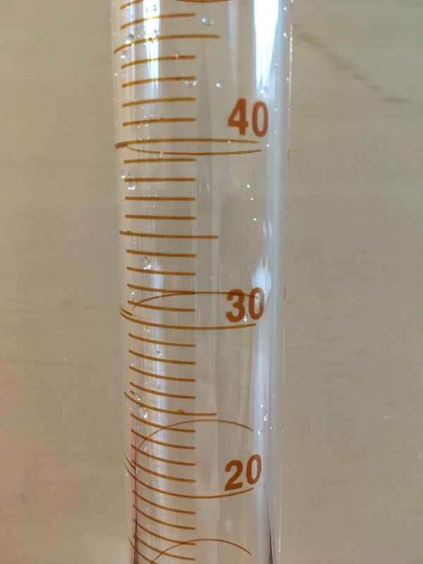 50 mL graduated cylinder close up