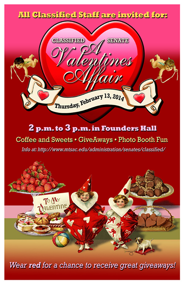 All Classified Staff are invited for Coffee and Sweets, give aways, photo booth fun from 2 p.m. to 3 p.m. at the Founders Hall. Wear Red for a chance to receive great giveaways!