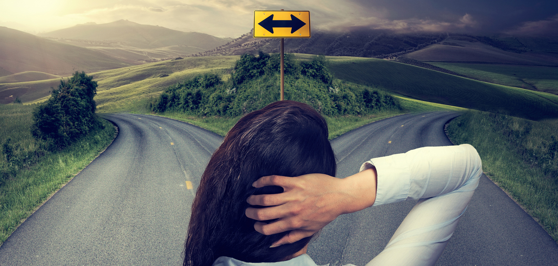 A graphic of a young woman facing a decision between two roads
