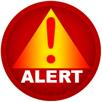 emergency alert icon - no emergency present. this icon for illustrative purposes only.