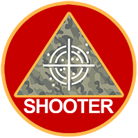 active shooter logo - triangle with camoflauge background overlaid by rifle sights within a red circle with gold edge