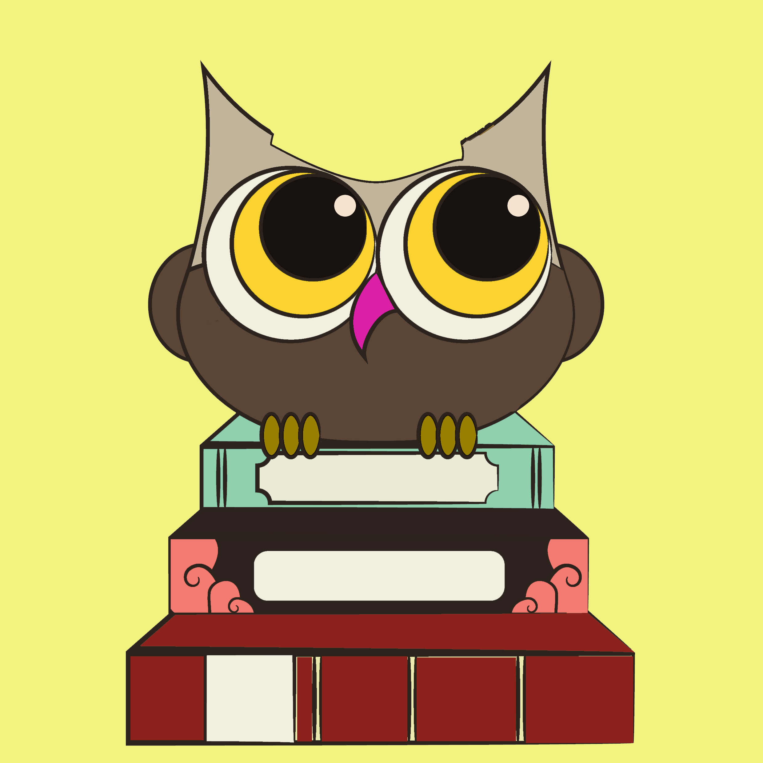 owl sitting on top of books