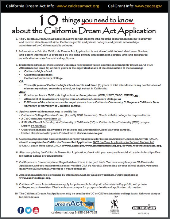 Ten things you need to know about the CA Dream Act Application