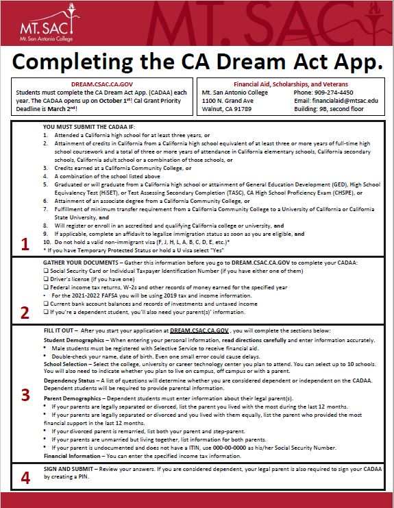 Completing the CADDA (CA Dream Act applicants only)