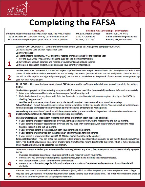 Completing the FAFSA (FAFSA applicants only)