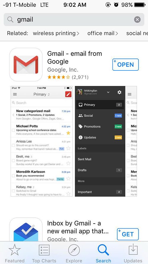 Gmail App at the App Store