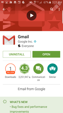Gmail App at the Google Play Store