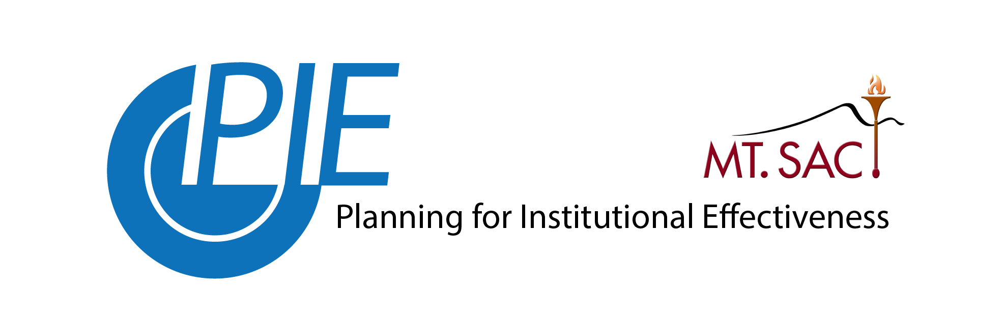 the planning for institutional effectiveness logo, a blue circle with two circles sections separated by a space and the top-right quarter cut out with the letters P I E in all caps
