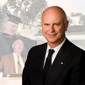 composite of mt. sac president scroggins in various poses with founders hall in the background