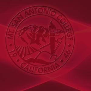 college seal on mt. sac red background