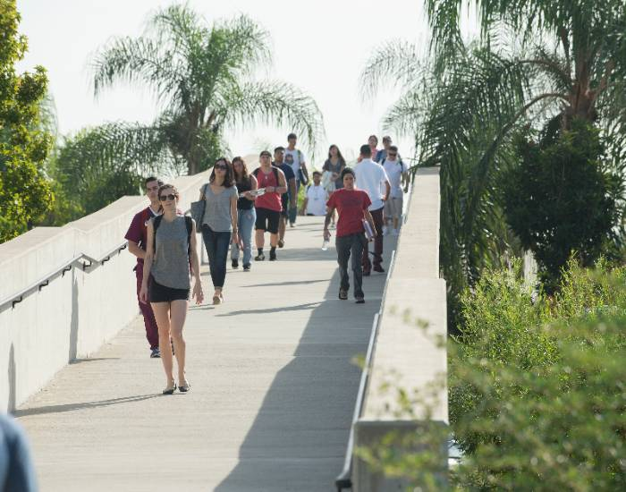 Students walk across a pedestrian bridge