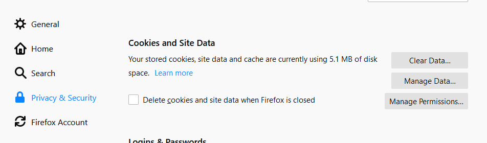 Screenshot of the Firefox settings for Cookies and Site Data
