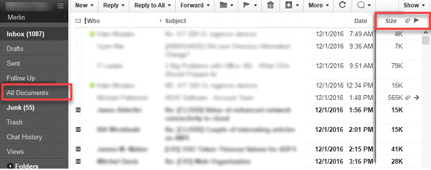 screen shot of Lotus Notes email filtered by size