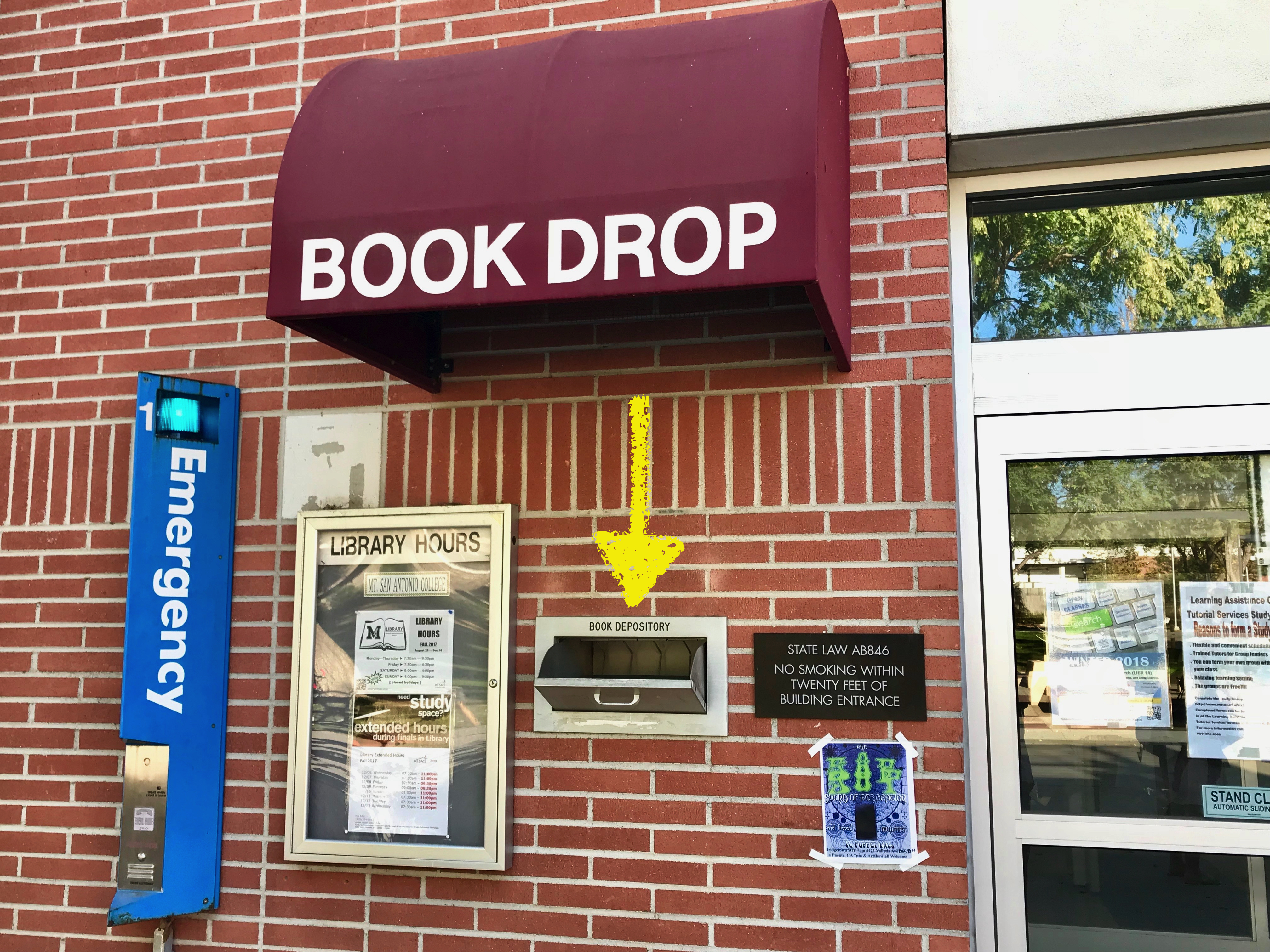 Bookdrop by the library entrance
