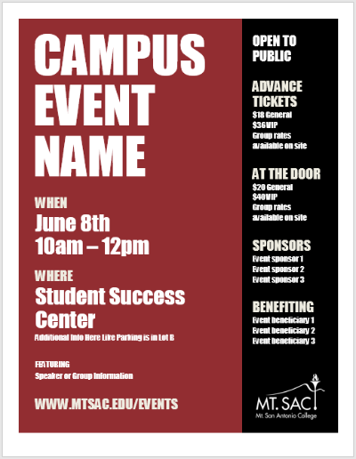A screenshot of a flyer with bold maroon and black colorblocking