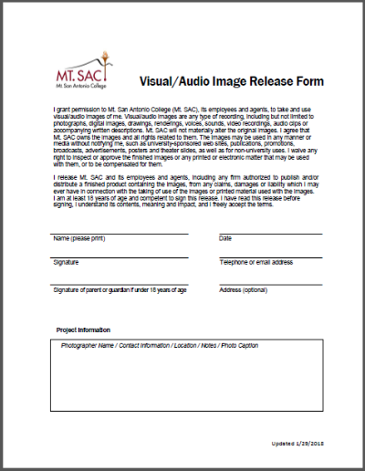 A screenshot of the photo release form