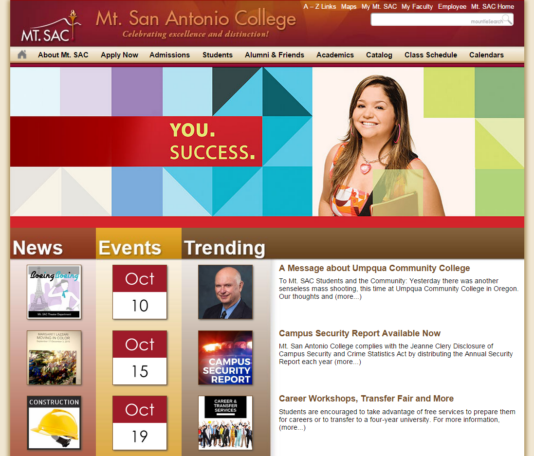 A snapshot of the home page on October 9, 2015, before the launch of the new site.