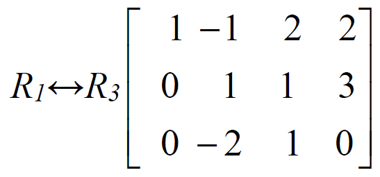 capital r subscript 1 baseline double arrow capital r subscript 3 baseline 3 by 4 matrix top row 1 negative 1 2 2 second row 0 1 1 3 bottom row 0 negative 2 1 0