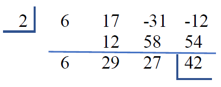 Synthetic division table with root 2 in the upper left corner with a horizontal line under the 2 and a vertical line to the right of the 2 comma top row 6 17 negative 31 negative 12 comma second row blank space 12 58 54 a horizontal line to separate the second and third rows comma third row 6 29 27 42