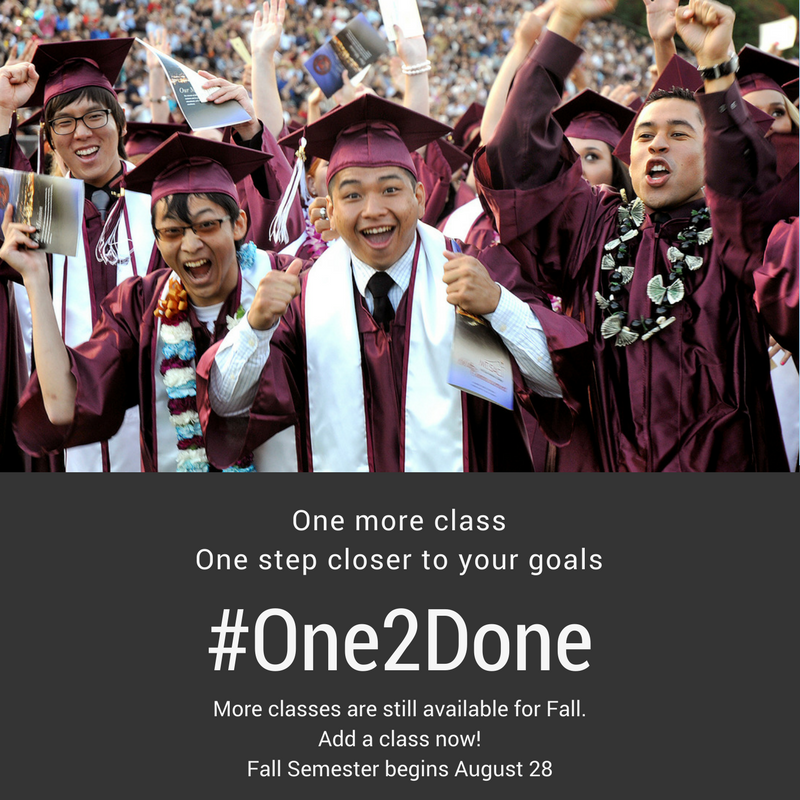 graphic of #One2Done. Take one more class to get one step closer to your goals.