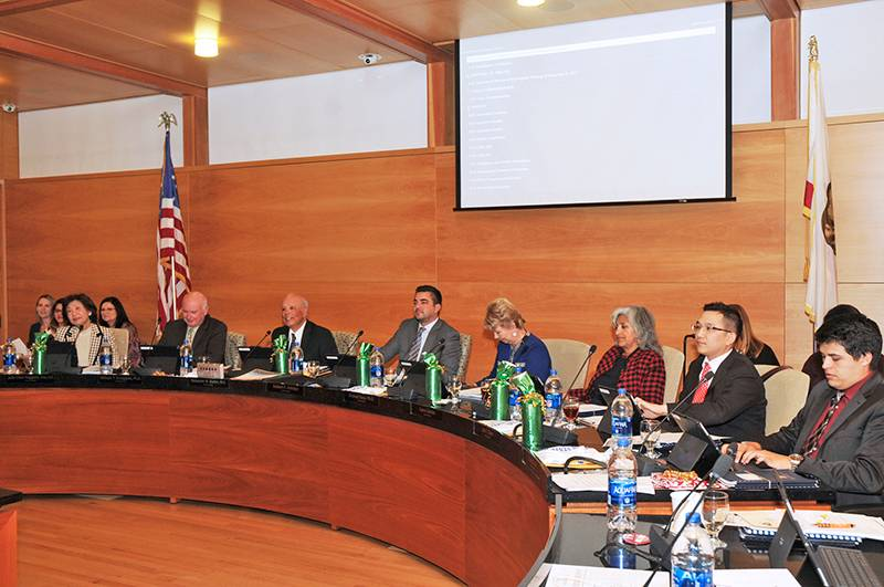 picture of the board of trustees during a meeting