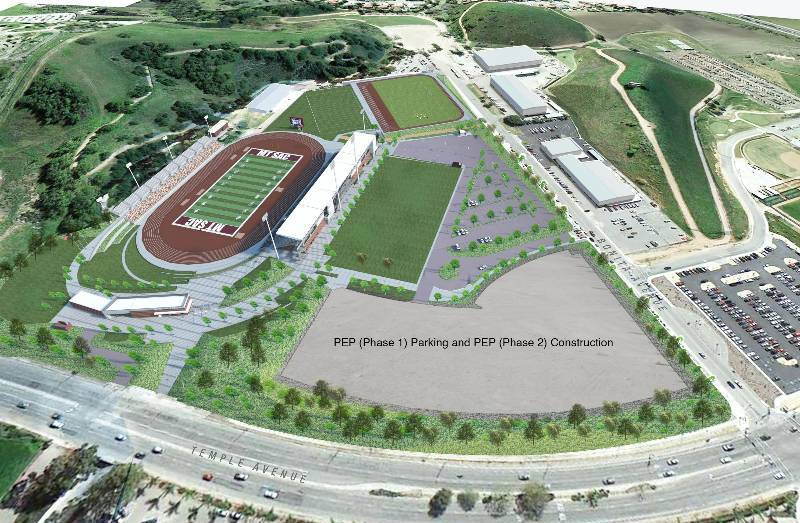 A rendering of the Physical Education Project's first phase with the new stadium in the southeast of campus.