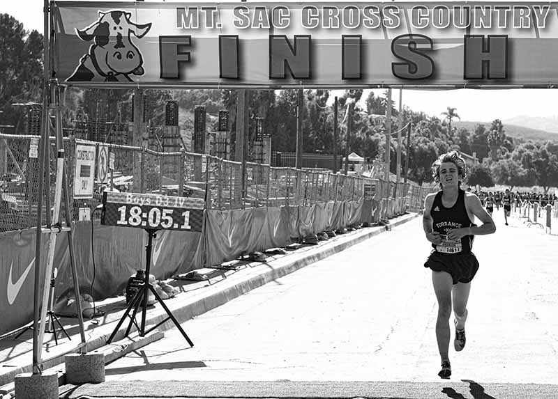 Mt. SAC Invitational runner at finish line