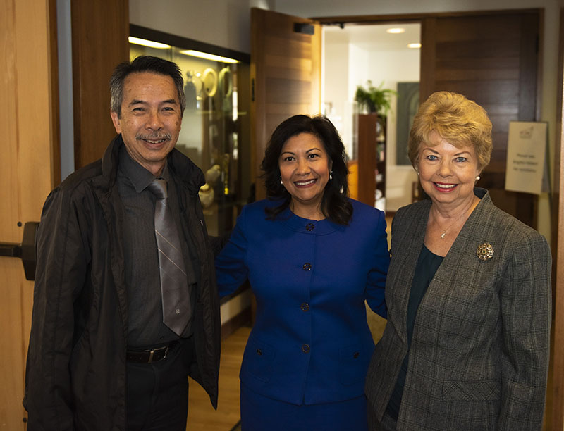 Rep. Torres (center) with Mt. SAC Board of Trustees Gary Chow (L) and Roseanne Bader (R)
