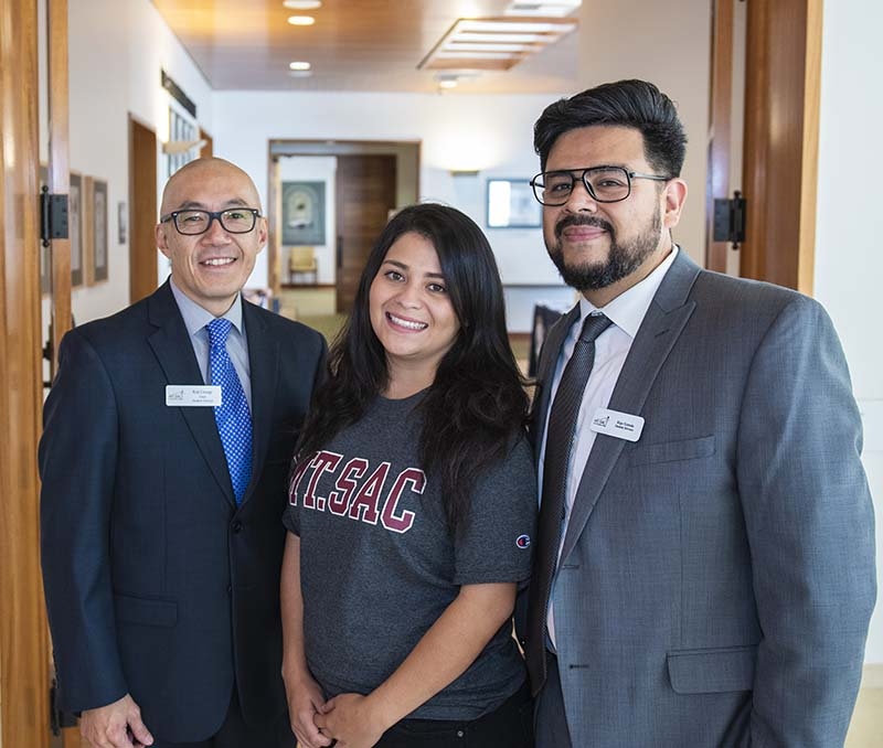 Daija Lopez (center) with Koji Uesugi, Dead of Student Services (L) and Rigo Estrada, Basic Needs Coordinator (R)
