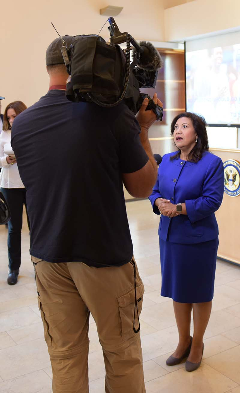 Rep. Torres interviewed by a TV news crew