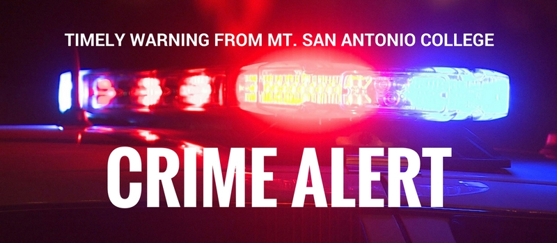 Police sirens with text overlay saying Crime Alert: Timely warning from Mt. San Antonio College