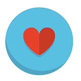 red heart blue background