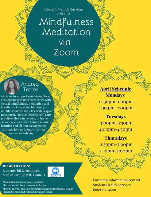 flier showing the sessions for meditation series