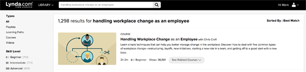 "image of results for ""employee changes"" search with links to courses on this subject"